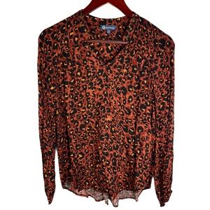 NWT Democracy Animal Print and Grommet Blouse
